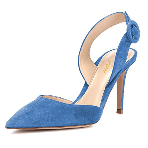 YDN Women Slingback D'Orsay Pumps Pointed Toe High Heel Slide Sandals Office Shoes Blue 8
