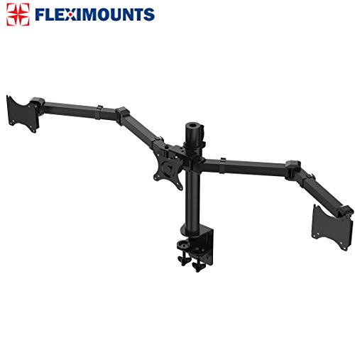 Arm Adjustable Swing Lcd Triple (FLEXIMOUNTS D1T Triple Monitor Arm Desk Mounts Stand Fits 10