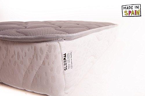 SLEEPAA Colchón de Cuna Fibra DE Coco Natural y MUELLES 120x60 cm antiácaros Transpirable Altura 15 cm Tejido Exterior Stretch Acolchado antiácaros ...