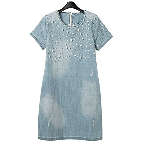 Women's Plus-size Fashion Denim Dress with Pearl US 20W