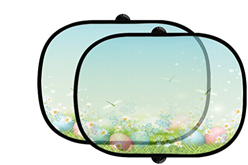 Easter Eggs In Grass Dragonfly 2Pcs Foldable Auto Window Sunshade Mesh