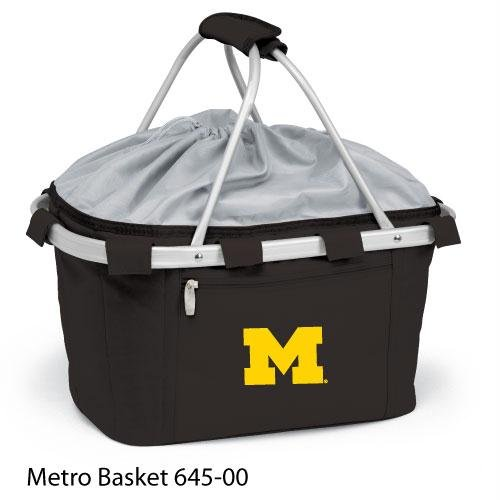 Metro Embroidered Basket (Picnic Time 645-00-175-342-0 University of Michigan Embroidered Metro Picnic Basket, Black)