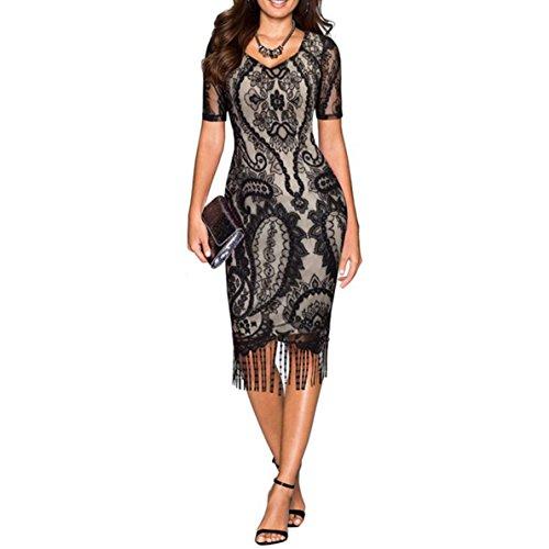 COSYOU Short Sleeve V Neck Vintage Styles Lace Patchwork Fringe Party Dress