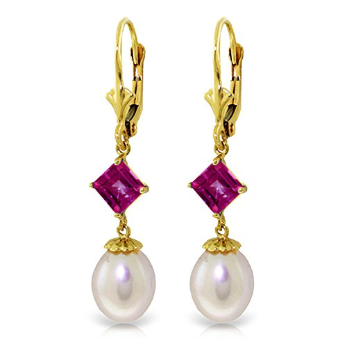 9.5 Carat 14K Solid Gold Summer Fling Pink Topaz pearl Earrings by Galaxy Gold