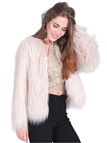 Simplee Apparel Women's Winter Warm Fluffy Faux Fur Coat Jacket Outwear, Tag Size XXXL = US 14, Light Pink