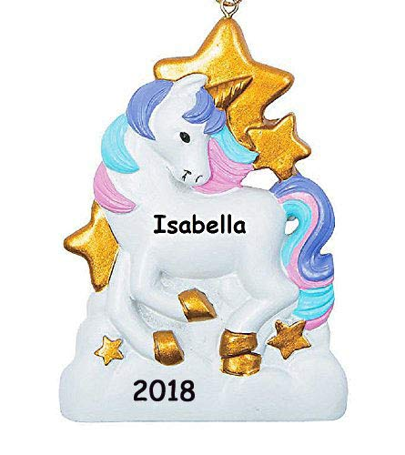 Personalized Ornament Tree Christmas (Personalized White Unicorn Pink Purple Hair Mane Gold Stars Hanging Christmas Tree Ornament Your Choice Custom Name Year)