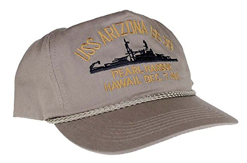Embroidered USS Arizona Battle Ship, Pearl Harbor Hawaii, Dec. 7 1941 cap hat, Khaki