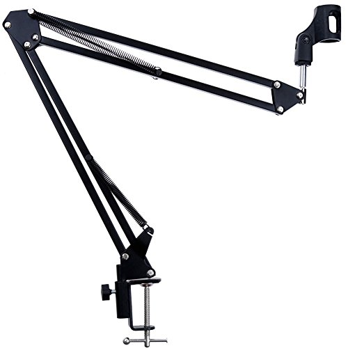 AOREAL Microphone Stand Adjustable Professional Desk Recording Microphone Suspension Boom Scissor Arm Stand With Microphone Clip,Table Mounting Clamp