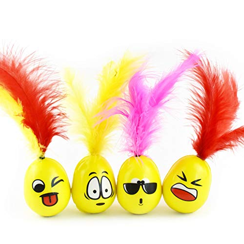 (4-PACK Cat Feather Toys Tumbler, Cute Emojj Super Elastic Ball Funny Toy for Kittens Kitties Puppy to Chase Play Chew, Non-toxic Safe Interactive Game Avoid Furniture Destruction & Mental Illness)