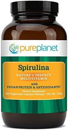 Pure Planet Spirulina – 500 mg – 500 Vegetarian Capsules