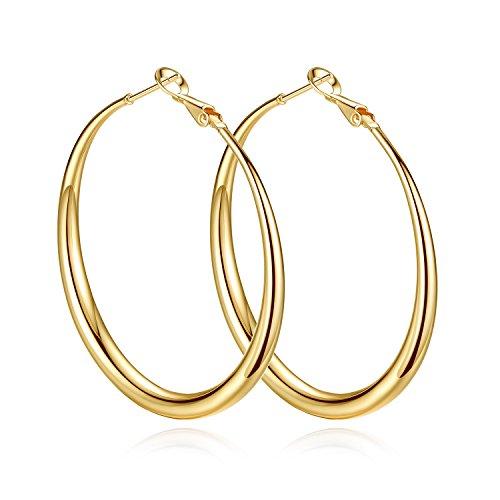 Yumay 10K Yellow Gold Plated Large Hoop Earrings for Women,50MM Hypoallergenic Hoop Earrings for Girls.