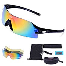 Carfia Cycling Glasses Polarized Sports Sunglasses UV400 Protection Eyewear for Men Women Riding Driving Fishing Running Ski Golf Baseball with 3 Interchangeable Lenses