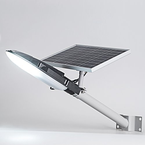 TIN SUM 15W LED Solar Street Light,2000LM 6500K Solar Powered Lamp,IP65 Waterproof Security Area Night Lighting for Gutter Patio Garden Path Yard Pathway Basketball Court ()