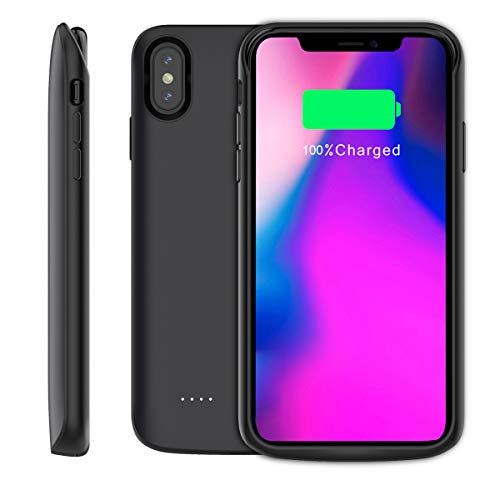 Compatible iPhone Xs Max Battery Case, 6000mAh Extended Battery Rechargeable Backup Fast Charging Case, Impact Resistant Power Bank Juice Full Edge Protection for iPhone Xs Max (Black) by BasicStock