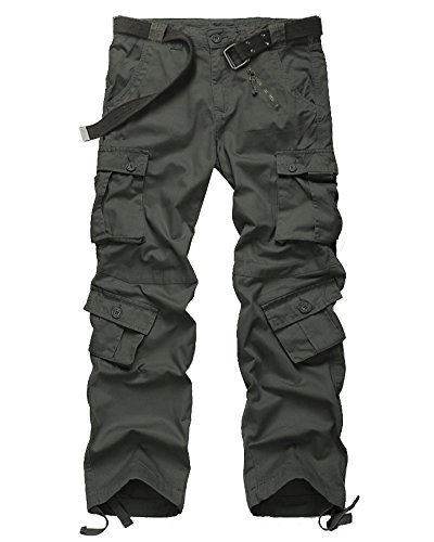 Jessie Kidden Men's Tactical Pants Wild Camo Cotton Casual Relaxed Fit Cargo Pants Baggy Big and Tall #7533-Dark Green,32 (Glock Hat Camo)