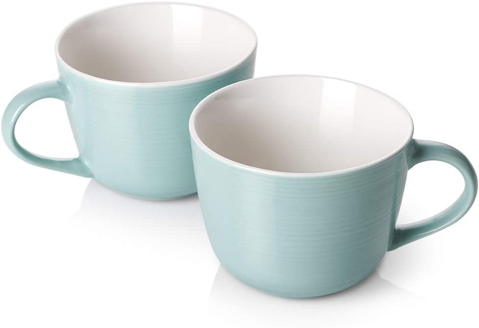 DOWAN Porcelain Latte Mug Set - 17oz Large coffee mug for Cappuccino, Latte Coffee, Soup, Tea, Cereal, Ice Cream, Set of 2, Turquoise