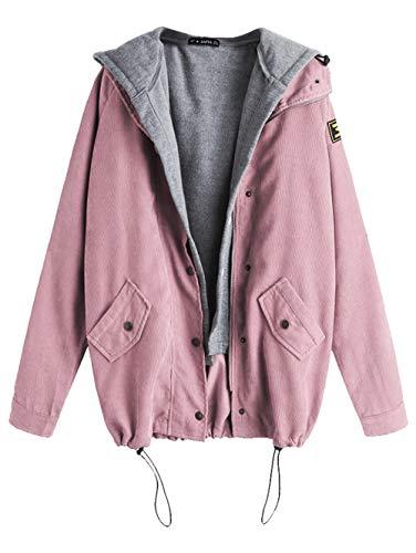 ZAFUL Women's Patchwork Drawstring Corduroy Jacket Fleece Hooded Vest Twinset Casual Oversized Jacket Coat(Light Pink-M) ()