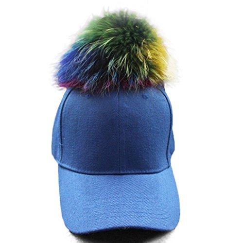 [Raylans Fashion Adjustable Women Canvas Real Fur Dyeing Pom Pom Baseball Cap Peaked Hat,Sapphire] (Ladies Golf Fancy Dress Costumes)
