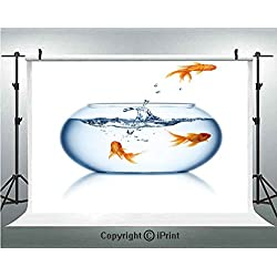 Aquarium Photography Backdrops Goldfish Jumping Out of the Fishbowl Freedom Escape Challenge Bravery Theme Decorative,Birthday Party Background Customized Microfiber Photo Studio Props,8x8ft,Blue Oran