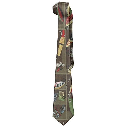 Vintage Fishing Lure Style Neckties Fashion Silk Tie Sets For Men Teen boys ()