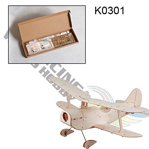 (DW Hobby Micro Indoor Balsa wood Electric Building Biplane Copernicus 296mm Wingspan Balsa Laser-cut Aircraft Un-assembled w/Brush Motor (K0301))