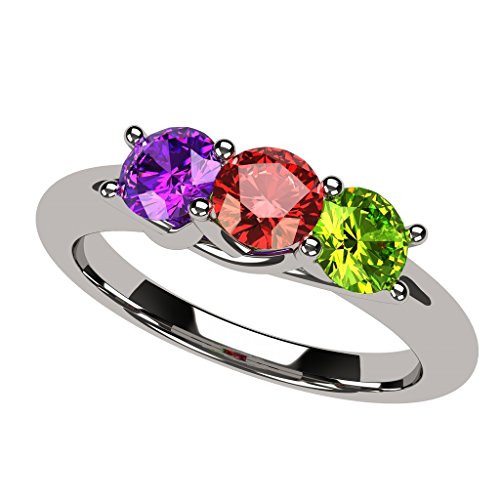 - NANA Lucita Mothers Ring 1 to 6 Stones in Sterling Silver- Size 4.5
