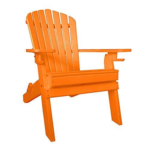Furniture Barn USA 7 Slat Poly Lumber Wood Folding Adirondack Chair - Orange