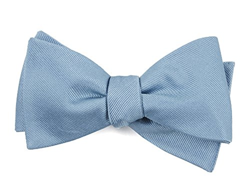 The Tie Bar 100% Woven Silk Grosgrain Solid Steel Blue Self-Tie Bow Tie (Bow Silk Woven Ties)