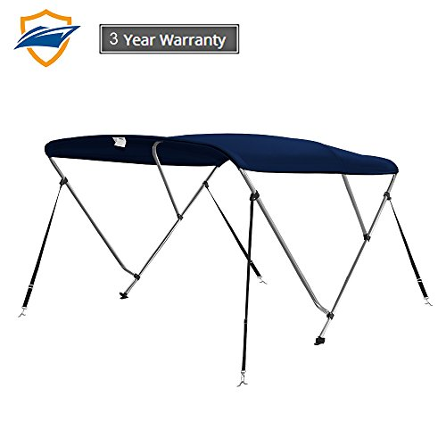 Seamander 3 Bimini Tops for Boats,Boat Canopy Cover Top 4 Straps for Front and Rear Includes with Mounting Hardware (Navy Blue, 3 Bow 6'Lx 67