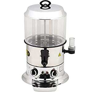 9 Liters / 19.84 lbs. Capacity PROFESSIONAL Commercial Hot Chocolate Maker Drinking Machine Electric Hot Chocolate Dispenser Shiny Silver Color 220V