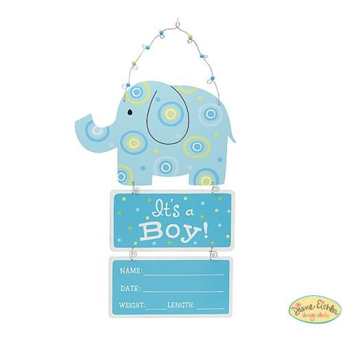 Boy Door Hanger - Elephant Wooden Wall Hanging Blue