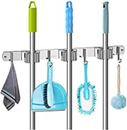 VASLON Mop and Broom Holder, Broom And Mop Holder Wall Mounted, Heavy Duty Stainless Steel Mop And Broom Holde