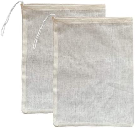 (2 Pack) Premium Organic Cotton Cheesecloth Bags for Straini