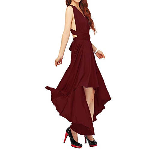 Women's Flowy Transformer Convertible Multi Way Wrap Long Prom Maxi Dress V-Neck Hight Low Wedding Bridesmaid Evening Party Grecian Dresses Backless Halter Formal Cocktail Gown Burgundy Hi Low XL