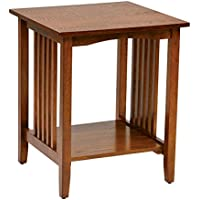 Office Star Sierra Solid Wood Side Table, Ash Finish