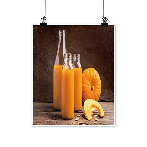 Art Picture Colorful Canvas Print The Juice ripe Pumpkin Bottle in Glass Bottles Wooden backgroun Paintings for Living Room,20