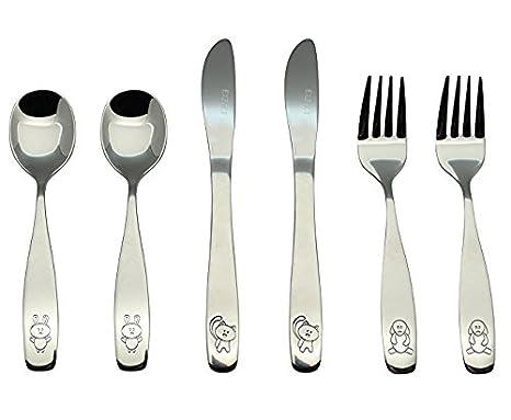 2 x Dinner Spoons 2 x Safe Dinnerknife Exzact Stainless Steel 6 pcs Childrens Flatware Cutlery Set//Silverware 2 x Forks Caterpillar x 6