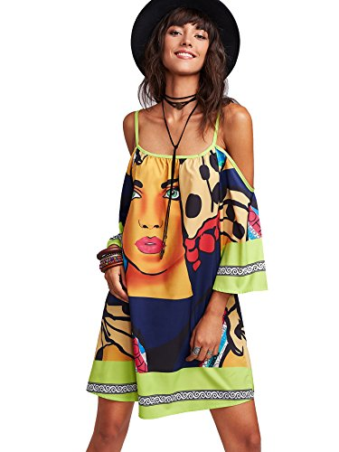 Milumia Women's Tribal Print Kimono Sleeve Geometric Tunic Boho Dress Small Multicolour-Green
