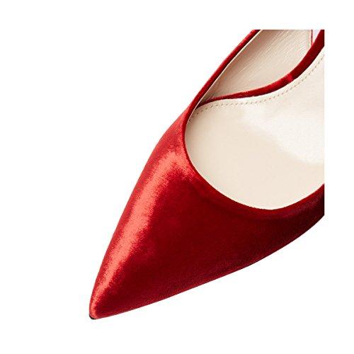 Fsj Donne Classy Slingback Pumps Velluto Gattino Mid Heels Punta A Punta Comfort Dress Scarpe Taglia 4-15 Us Rosso