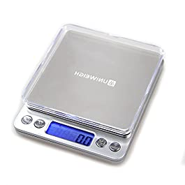 UNIWEIGH Food Scale,3kg 0.1g/0.01oz Digital Gram Scale Weight Grams and OZ,Coffee Scale with 2 Trays for Baking Cooking…