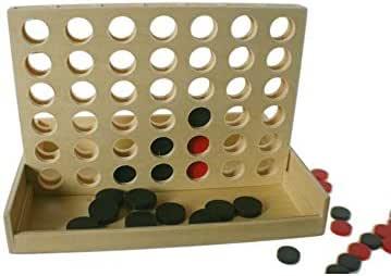 CAL FUSTER - Juego 4 en Raya de Madera Natural. Medidas: 18x24x17 cm.: Amazon.es: Juguetes y juegos
