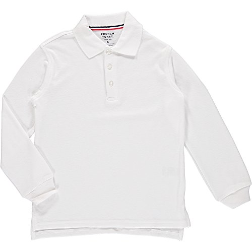 French Toast Long Sleeve Interlock Polo Boys White 16 by French Toast