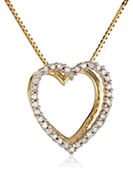 10k Yellow Gold Diamond Heart Pendant Necklace (0.10 cttw, I-J Color, I2-I3 Clarity), 18""