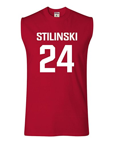 X-Large Red Adult Stilinski LaCrosse #24 Sleeveless Tank Top T-Shirt