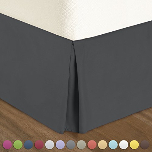 "Pleated Bed-Skirt California King Size – Dark Gray Luxury Double Brushed 100% Microfiber Dust Ruffle, 18"" inch Tailored Drop by Urban Bed"