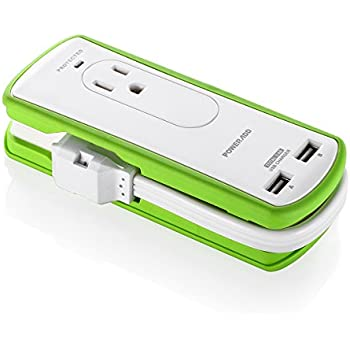 [UL Listed] Poweradd 2-Outlet Mini Portable Travel Surge Protector with Dual 3.4A Smart USB Ports, Wrapped Cord Design