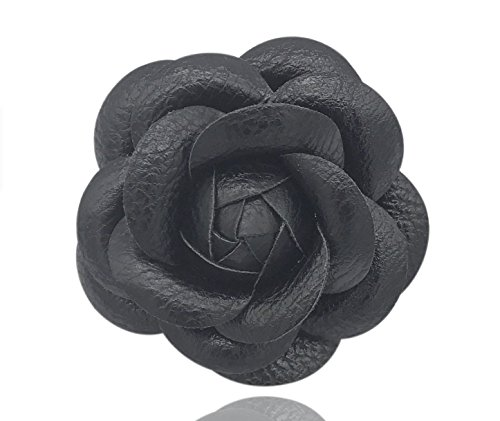 (Misasha Women's Black leather Camellia Flower Pin Brooch with Organza Gift Bag)
