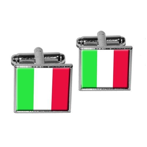 Italy Italian Flag Square Cufflink Set - Silver (Italian Cufflinks Square)