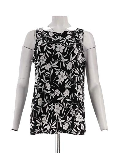 Susan Graver Printed Liquid Knit Slvless Top BlkWhite Floral L New A305881