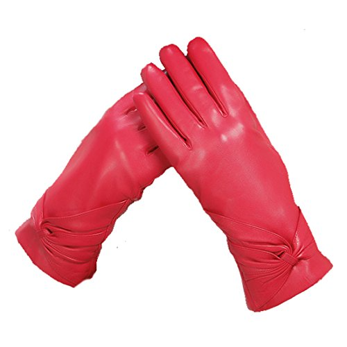 D.King Women Lady's Full-Finger Soft Sheepskin Leather Thickened Plush Warm Lining Cycling Dress Gloves(Red/M)